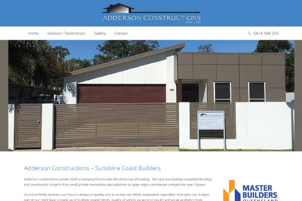 web design adderson constructions sunshine coast