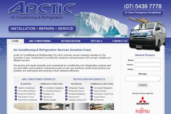 web design sunshine coast air conditioning