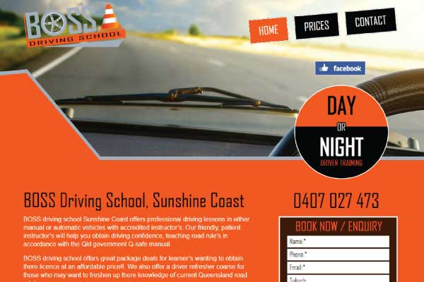 web design boss driving school sunshine coast