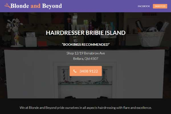 web design bribie island hair salon