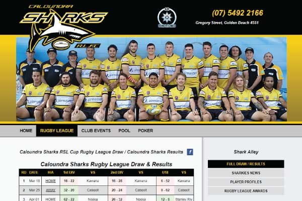 web design caloundra sharks