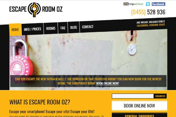 web design escape room oz sunshine coast