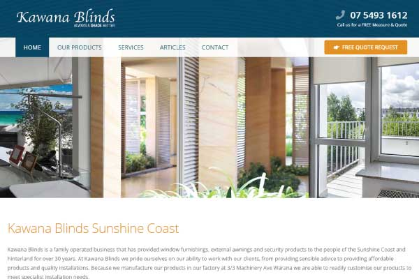 web design kawana blinds sunshine coast