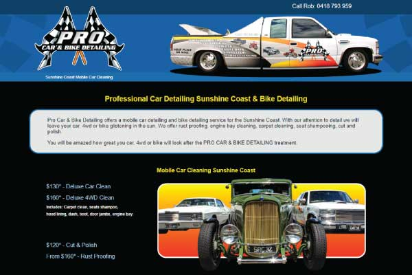 web design sunshine coast car detailing