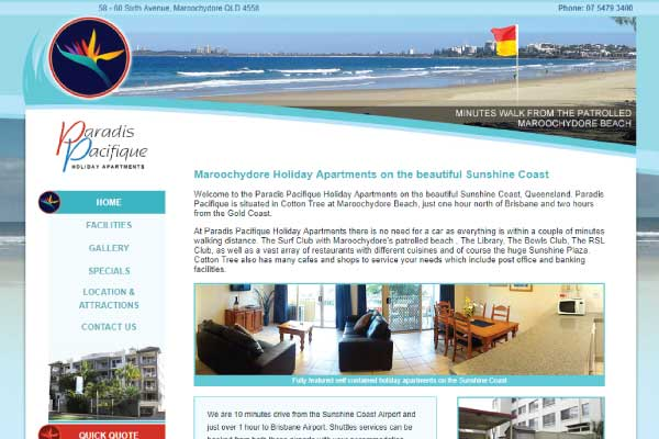 web design sunshine coast holiday accommodation
