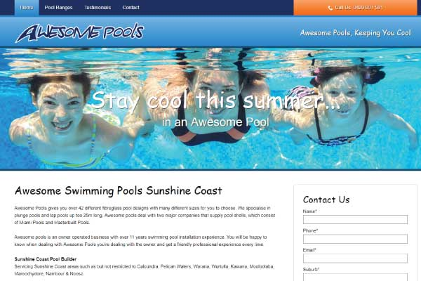 web design awesome pools sunshine coast