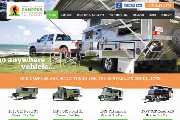 web design sunshine coast north coast campers