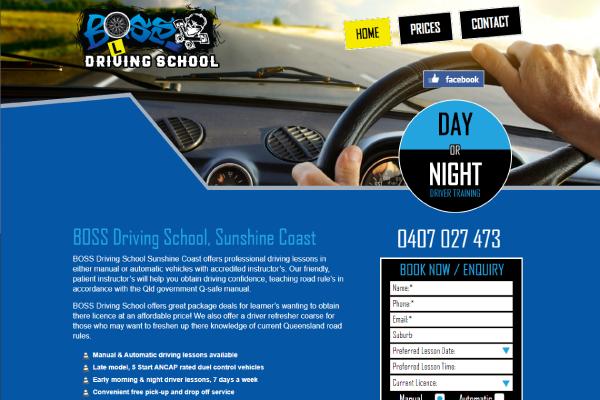 boss driving school sunshine coast website design