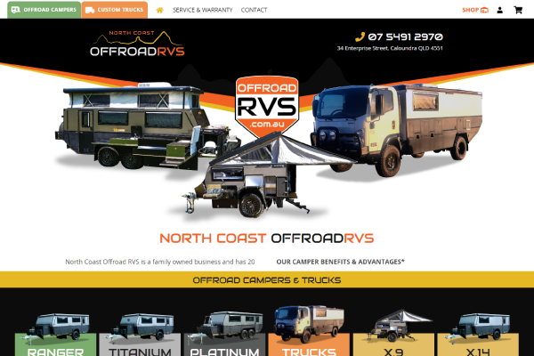 offroad campers sunshine coast website design